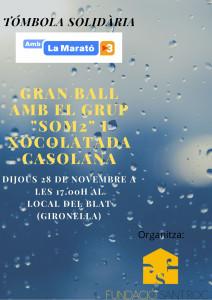 """Tómbola solidària per la Marató de TV3 i Gran Ball amb el grup """"Som 2"""""""
